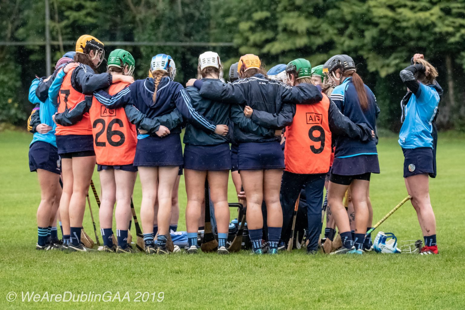 Dublin Intermediate Camogie Team In a huddle on the pitch before their Leinster Intermediate Camogie quarter final