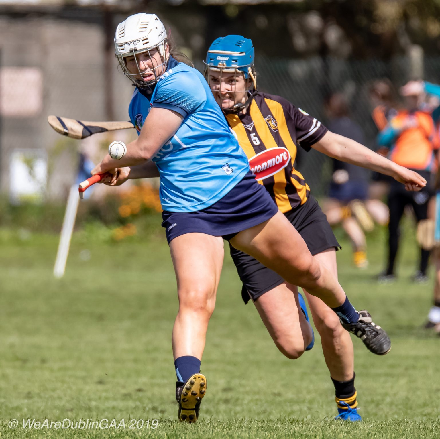 Dublin Camogie player strikes the ball just before she is hooked by a Kilkenny player in the Leinster Senior Camogie Quarter Final